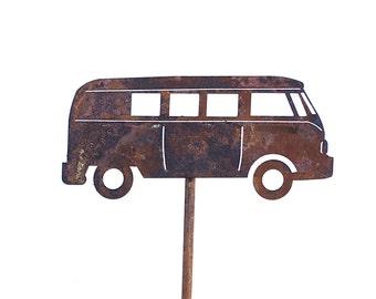 VW Bus Metal Garden Art Sculpture Grateful Dead -Super Fast Free Shipping
