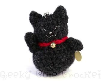 Black Good Luck Kitty Amigurumi Keychain Maneki Lucky Neko Cat