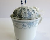 Teacup Pin Cushion, Repurposed Vintage Porcelain China Teacup, Blue Floral Teacup Pincushion