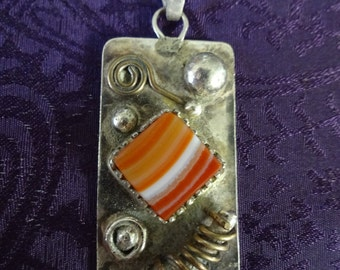 SUMMER SPECIAL - Sterling Silver Whimsical Orange Lace Agate Necklace Pendant