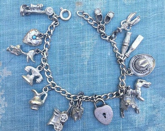 Vintage 1940's Sterling Silver Charm Bracelet 14 Charms Antique Jewelry F&B Sterling Silver