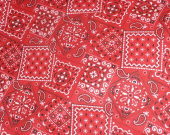 """Bandana Rodeo Patchwork Cotton Fabric Red By Half Yard Cotton 45"""" Wide"""