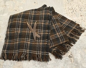 Plaid Throw in Grays and Browns - Fringe Ends - Industrial Decor - Cabin - Mountain Decor - Plaid Blanket - Subtle Subdued Colors - 60 x 72