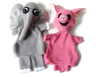 Elephant and Piggy -Hand Puppet Pair - Custom Made Storybook Characters- Gray Elephant Pink Pig