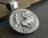 Greek Mythology Necklace Silver Pendant Aurora Goddess of the Dawn