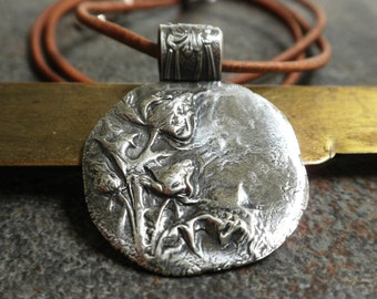 Scotland Thistle Pendant Silver Flower Jewelry