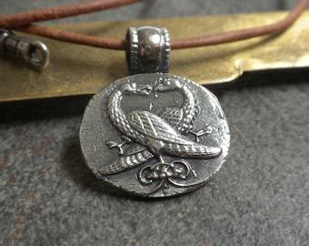 Silver Bird Pendant Necklace Asiatic Pheasant