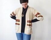 1970s Pastel Space Knit Cardigan - M/L