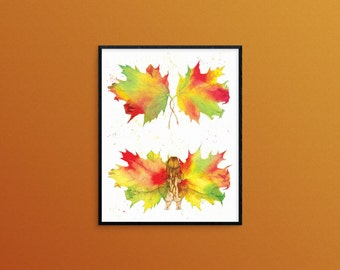Autumn Leaf Fairy - Art Print 8x10, faery, sprite, maple leavess, vivid watercolor, fantasy artwork, fairy tale, elf, nature spirit