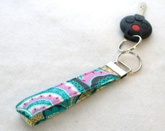 Wristlet Key Fob Amy Butler Paisley Fabric Key Fob Keyring Hapi Oasis Paisley Turquoise Orchid Pink Gold MTO