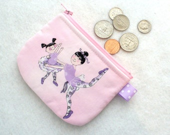 Clearance SALE Girls Mini Coin Purse Cute BALLERINAS Ballet Dancers Pink Lavender Purple Little Zipper Change Purse Asian Mom and Child