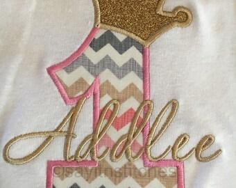 Personalized Birthday shirt, bodysuit, girl, boy, 1st birthday, princess or prince