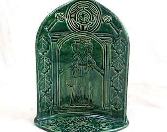 GODDESS Hecate (Hekate) Goddess  Shrine - Handmade  Ceramic Pottery Candle Holdler
