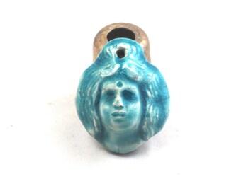 Goddess Pendant Raku Pottery