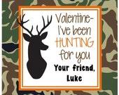 Valentine Camo Deer Sticker/Tag, Gift Enclosure Card or Return Address Label - Set of 24