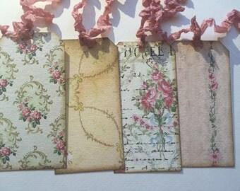 Set of 6, plus 1 FREE!! Vintage inspired Wallpaper tags. Crinkled seam binding ribbon.