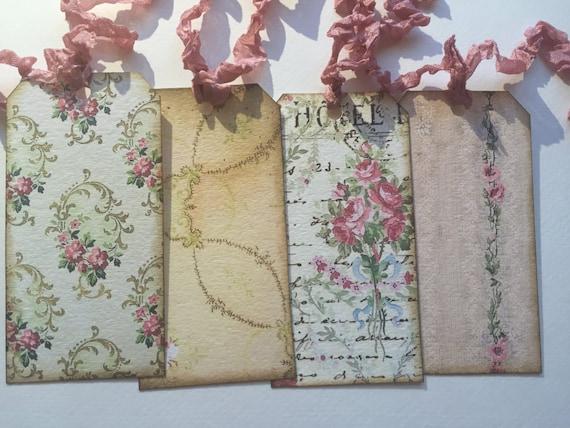 Set of 6, plus 1 FREE!! Vintage inspired Wallpaper tags. Crinkled ...