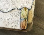 Labradorite Necklace, Sterling Silver Necklace, Natural Stone Pendant, Healing Stone, Amber Pendant, Vertical Pendant, Yellow Orange Flash