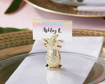 Gold Pineapple Place card Holder (Set of 6) Wedding decor, Event, Trend Hawaiian Inspired Wedding
