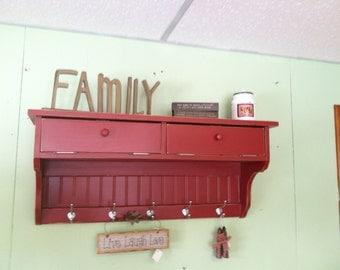 Wall Storage Unit Solid Wood Coat Rack Glove Storage Shelf Primitive Country Distressed Red Rustic 2 Drawer Storage