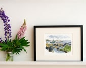 """Blue Rocks - Limited Edition Print of a Watercolour and Ink original -  8"""" x 10"""", Fishing Boat Art, Nautical Decor, Wall Art"""