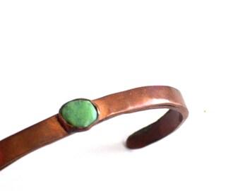 Primitive Vintage Copper Turquoise Cuff Bracelet, Child Copper Bracelet, Southwestern Cuff Bracelet, Vintage Copper Tribal Cuff