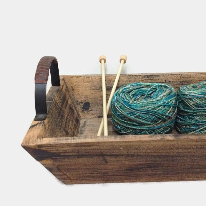 Rustic Wooden Tray Metal Handles Serving Tray