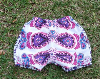 Hippie Kids Shorts Bloomer pants - Purple Paisley - size 6-9 months -Boys or Girls-read measurements