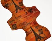 Heavy Core- Red Eiffel Tower Reusable Cloth Goddess L Pad- WindPro Fleece- 14.5 Inches