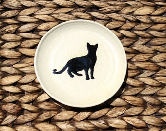 Ceramic CAT Saucer - Small Handmade Stoneware Cat Plate - Black Cat Silhouette - Ready To Ship