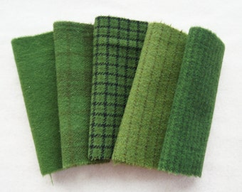 "Green Hand Dyed Felted Wool Fabric 5"" x 5"" Wool Charm Pack of 5 Quilting, Sewing, Wool Applique"