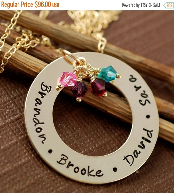 SALE Custom Mommy Jewelry, Circle of Love, Birthstones and/or Pearl, 14kt Gold Filled, Hand Stamped Necklace