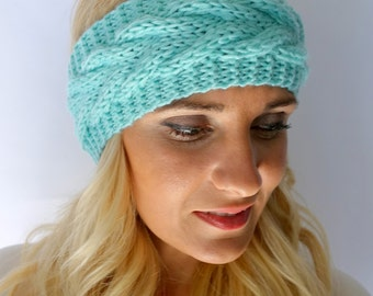 Mint Green Chevron Head Wrap Knit HeadBand Chunky Headband Handmade Earwarmer Winter Headban or CHOOSE Color