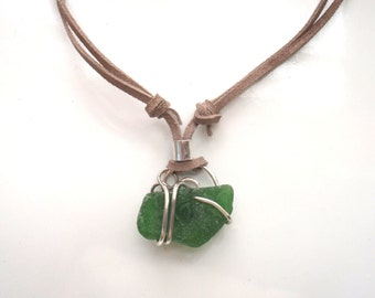 Mens Rugged Sea Glass Adjustable Leather Necklace Authentic Green Beach Glass