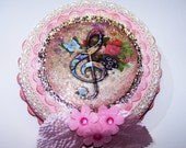 Wall Decor, Treble Clef, Musical, Music, Pink, Gifts for Her, Picture, Mixed Media, Home Decor, Roses, Musical Notes, Colorful, Feminine