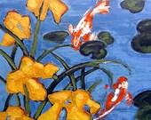 Koi Pond Yellow Iris Garden Painting Impressionist California Plein Air Landscape Art Lynne French 11x14
