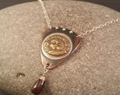 Sun and Wave Talisman Pendant made of Copper, Sterling, Brass and Fine Silver with Garnet Dangle