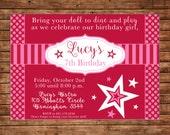 American Doll Girl Store Bistro Birthday Party Invitation - DIGITAL FILE