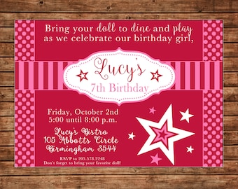 Doll Girl Store Bistro Birthday Party Invitation - DIGITAL FILE