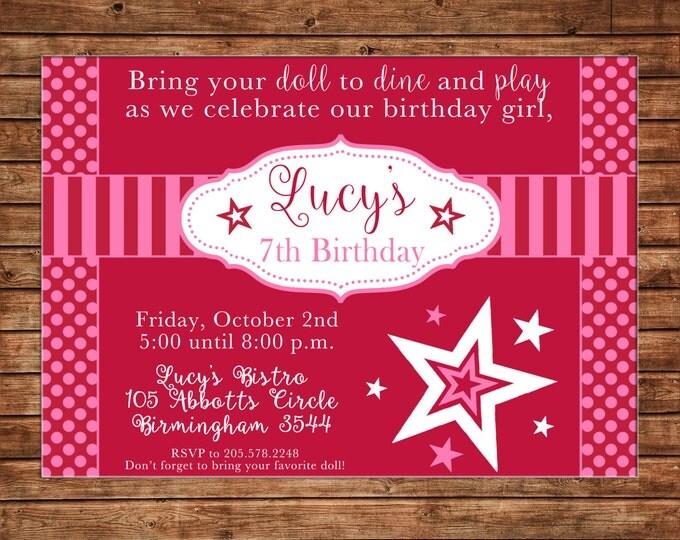 Doll Girl Store Bistro Birthday Party Invitation - DIGITAL FILE