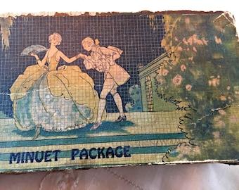 Vintage candy box, small candy box, antique chocolates box, shabby candy box, romantic box, gift box, art deco style box, art deco candy box