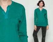 Long Sleeve Shirt POLO Shirt Henley Teal Green Shirt Plain T Shirt 90s Grunge Tshirt Hipster 80s Retro Tee Vintage Normcore Medium
