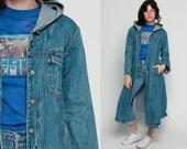 Hooded Jean Jacket Long Denim Jacket 80s Grunge Hood Trench Coat Oversize Jacket 1980s Vintage Button Up Hipster Blue Hoodie Medium