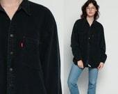 LEVIS Denim Shirt 90s Black Denim Jean Shirt Levi 1990s Oversized Long Sleeve Boyfriend Button Up Vintage Grunge Oversize Retro Large