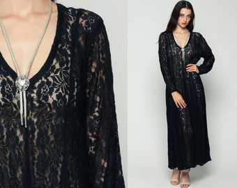 Boho LACE Dress Sheer 90s Maxi Grunge Floral GOTH Deep V Neck Navy Blue Vintage Bohemian Party Gothic Long Sleeve Trapeze Extra Large xl
