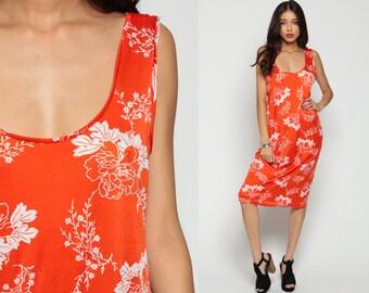 Boho Dress 70s Floral Sun Bohemian Sundress Midi LOW BACK Plus Size Vintage Shift Tunic Backless Hippie Festival Orange White Extra Large xl