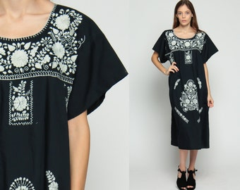 Black MEXICAN Dress Embroidered Midi Boho Floral Cotton Tunic Hippie Ethnic 80s Bohemian Vintage Embroidery White Extra Large xl
