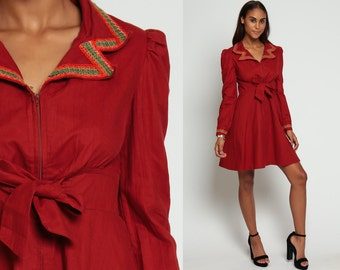 70s Mini Dress Babydoll Bohemian Mod Empire Waist Hippie Rust Red 1970s Long Puff Sleeve Vintage Boho MiniDress Front Zip Up Medium