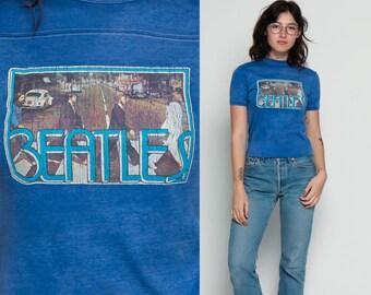 The Beatles Shirt Band Shirt ABBEY ROAD 80s Tour Iron On ROCK Band TShirt Concert T Shirt Tour Blue 1980s Tee Vintage Rocker Small Medium