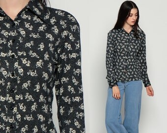 Floral Blouse Womens 70s Disco Boho Shirt POLKA DOT Print Button Up Top 1970s Hippie Vintage Collar Hipster Black Long Sleeve Small xs